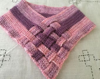Crochet Adult Cowl Pink, Lavender, And Purple Basket Weave  Neckwarmer Valentine's Gift