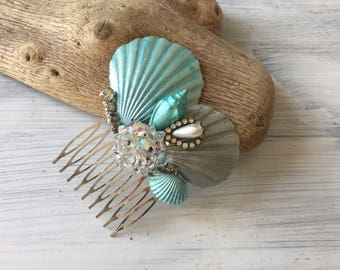 Beach Wedding No 20 - hand painted aqua seashell and vintage jewel assemblage