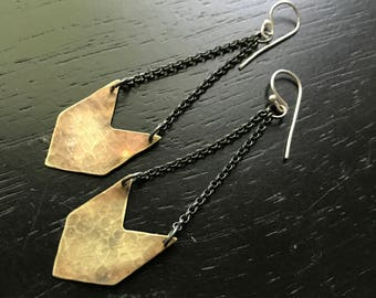 Brass Chevron Earrings - Single
