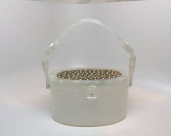 l950s pearlized Lucite Handbag with pearl decoration