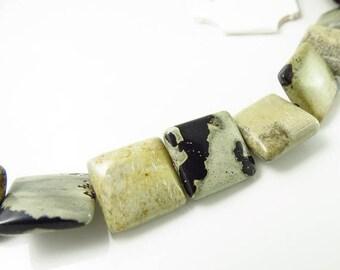 Summer Sale 12mm Semi-Precious Artistic Stone Square Beads - 8 Inch Strand - 13 pcs -  41041030012s8