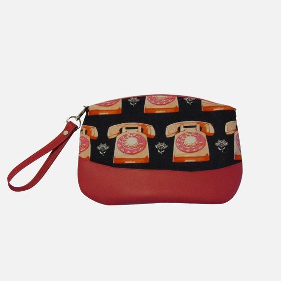 Rotary phone  Handmade Clutch crossbody purse