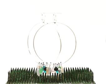 Hoop earrings Sterling silver hoops mixed stone earrings