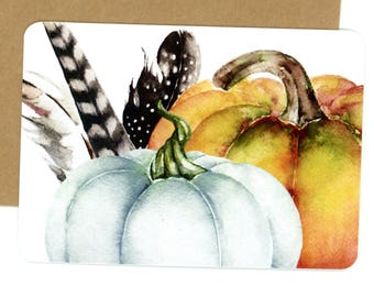 Pumpkin and Feathers, Flat Cards, Note Cards, White Pumpkin, Fall Cards, Autumn Note Cards, Black and White Feathers, Orange Pumpkin