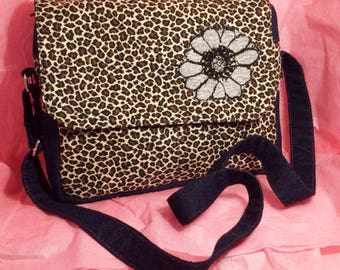 Crossbody bag, Animal print, beautiful applique. Perfect Gift