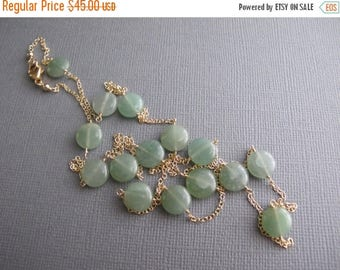 ON SALE Green Layering Necklace, Green Aventurine 14K Gold Filled Dainty Necklace