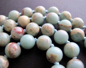 Aqua Terra Jasper Beaded Necklace, Robins Egg Blue and Tan, Knotted Necklace