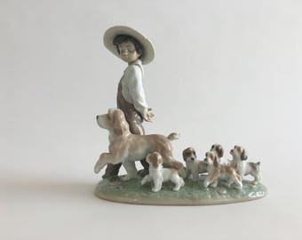 Lladro My Little Explorers ~ Lladro Figurine ~ Lladro Boy With Puppies
