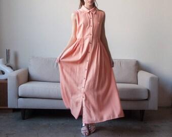 peach pink linen shirt dress / pastel sleeveless market dress / maxi dress / m / 2308d