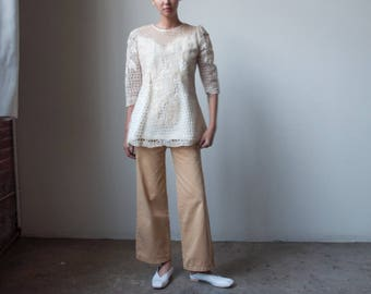 embroidered floral organza tunic top / lace blouse / puff sleeve top / s / m / 444t