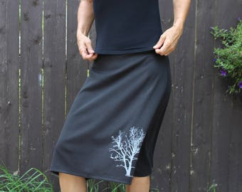 Cotton Jersey Long Skirt With Tree Print Black