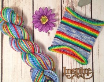 Nothing Says Screw You Like a Rainbow: Hand-dyed gradient self-striping sock yarn, 80/20 SW merino/nylon