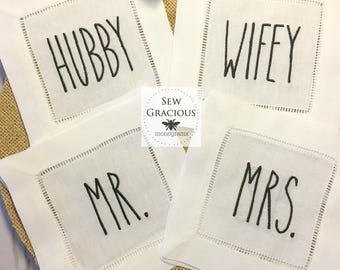 Rae Dunn Inspired Hubby Wifey Mr. Mrs. Embroidered Cocktail Napkins. Set of 4 Farmhouse Decor. Wedding or Anniversary Gift.