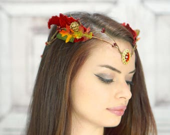 Elven Crown in Autumn Colors, Red Flower Crown, Woodland Fairy Diadem, Costume Headdress, Elven Tiara, Cosplay Headpiece, Fantasy, Larp