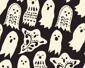 Boo Black Halloween Ghosts Fabric by Maude Asbury - The Spooktacular Eve Collection - Blend Fabrics One Yard Quilting Fabric