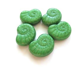 Silky Apple Green Czech Glass Nautilus Shell Beads, 17mm x 12mm - 5 pieces