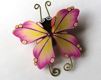 Butterfly Brooch Polymer Clay Jewelry Pink and Yellow Bug Pin