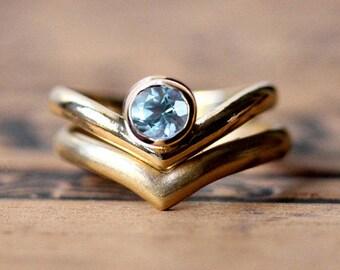 Aquamarine engagement ring set, aquamarine wedding set, v engagement ring, 14k gold ring modern engagement ring Arrow custom