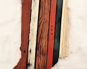 Indiana Wall Art, Reclaimed Wood Art, Rustic State Outline, Wood Wall Art, Wooden Indiana Wedding Decor, Hoosier Decor, Boho Room Decor