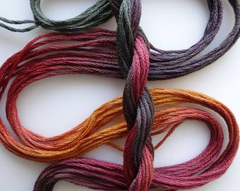 """Embroidery floss """"Knitty Gritty"""" hand dyed cotton"""