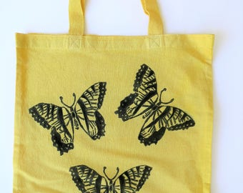 Butterfly Valley Hand Dyed Block Print Tote Bag