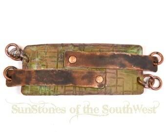 Hand Forged Copper Bracelet Focal Component,  Bracelet Link, DIY Jewelry Making F1052