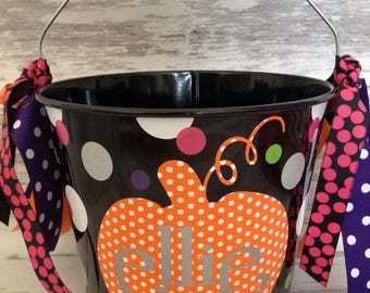 ON SALE Personalized Custom Halloween Bucket - More Designs Available