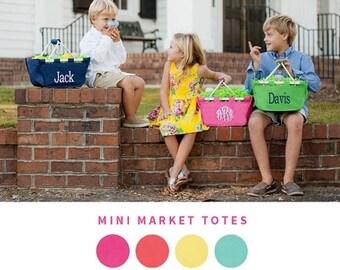 ON SALE Mini Market Tote - Monogrammed - Monogram Easter Basket - Picnic Basket - Mini Market Totes - Boys Easter Basket - Girls Easter Bask