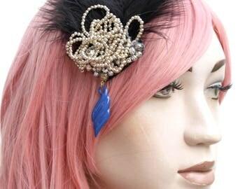 Mermaid Diamante Chain Beaded Black Feather Gatsby Boho Fascinator Hair Clip
