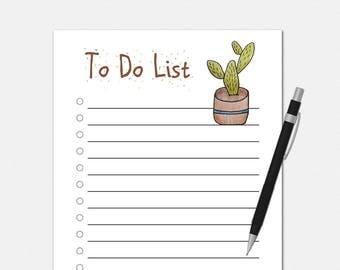 To Do List Notepad - Cactus To Do List - To Do List Notepad - Cactus Notepad - To Do Notepad