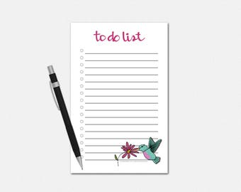 To Do List Notepad - Hummingbird To Do List - To Do List Notepad - Hummingbird Notepad - To Do Notepad