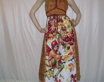 Fairy Midi Dress Hawthorn Fae Fairies Cotton Batik Red Orange Hippie OOAK Maternity Summer Cruise Resort Midi Dress Adult S M L