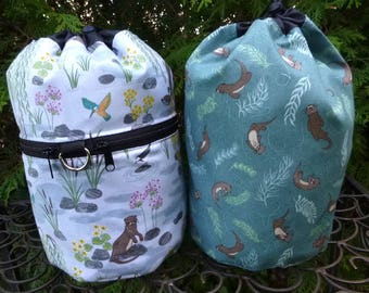 Otter matched set of knitting project bags, Otter Pond, Kipster and Suebee