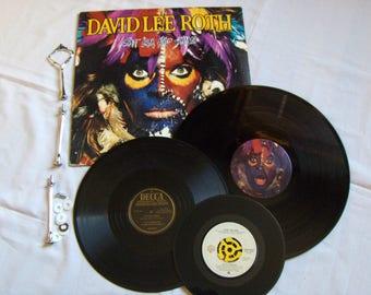 Recycled Record Album Serving Tray - VAN HALEN + David Lee ROTH - 3 Tier
