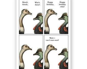 Cassowary Knock Knock Birthday Card