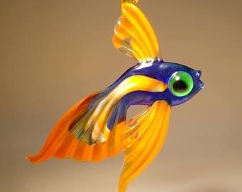 Handmade Blown Glass Art Figurine Blue and Orange Hanging Telescope Fish Ornament