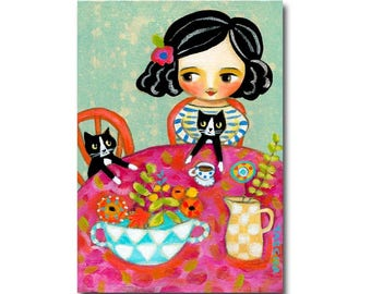 Happy Caturday! Tuxedo Cat tea time original painting Cat folk art painting cute floral cat art by Tascha