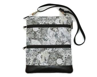 Crossbody Bag Cross body Purse - 3 zippered Sling Purse - iPad Bag - Tablet Bag - Cross Body Tablet Bag - Sling Purse Spirograph Gray Fabric
