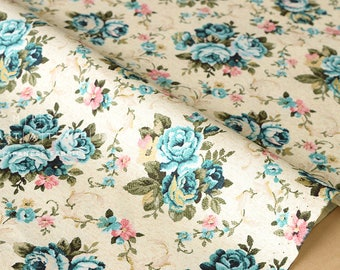 Japanese Fabric tapestry roses - blue, pink, gold - fat quarter