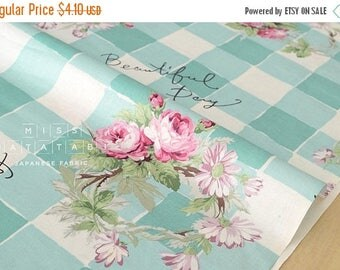 Japanese Fabric Yuwa Roses Check - mint - fat quarter