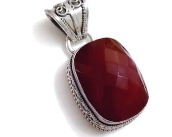 Carnelian Sterling Silver Pendant