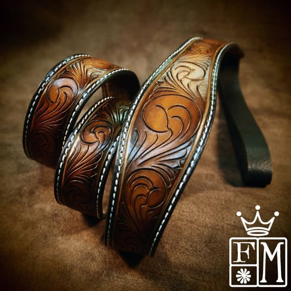 Leather mandolin F5 strap Hand tooled, Hand dyed sunburst Custom made for YOU in Brooklyn by Freddie Matara!