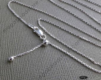 "22"" Adjustable 925 Sterling Silver Necklace Chain FC28"