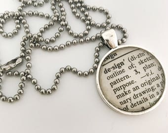 Word of the Year Necklace - glass dictionary pendant - ball chain necklace - silver chain necklace