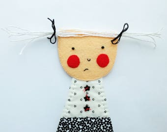 Shy Girl - Gretchen - Wall Hanging Figure - Art Doll