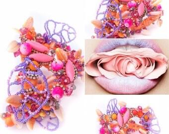 Flirtatious pinks, rhinestone decorated mixed-media Cuff bracelet