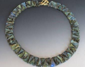 Smooth Labradorite Reverse Triangle Collar Necklace