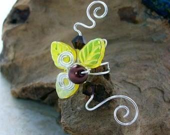 ON SALE Sunflower Fairy Ear Cuff No Piercing Ear Climber Yellow Ear Vine, Boho Fantasy Hippie Ear Cuff Jacket, Gift for Her, Kansas Stocking