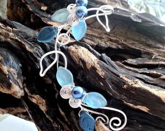 Blue Elf Ear Cuff Wrap ~ Ear Dreams ~ Ear Climber ~ Elven Jewelry~Ear Jacket ~No Piercing ~ Nickel Free Earrings