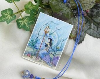 Mermaid Bookmark ~ Mermaid Art Card ~ Mermaid Book Mark ~ Fantasy Bookmark ~ Fantasy Art Card ~ Beaded Bookmark ~ Artistic Bookmark ~Mermaid